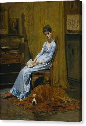 The Artist's Wife And His Setter Dog Canvas Print by Thomas Eakins