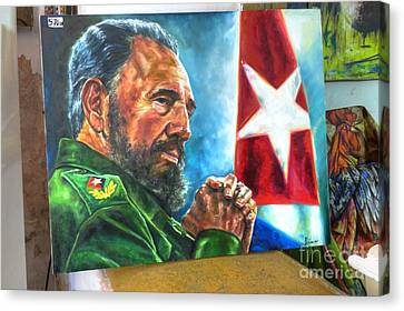The Arts In Cuba Fidel Castro 2 Canvas Print by Wayne Moran