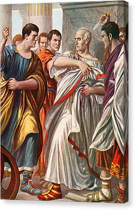 The Assassination Of Julius Caesar Canvas Print by Tancredi Scarpelli