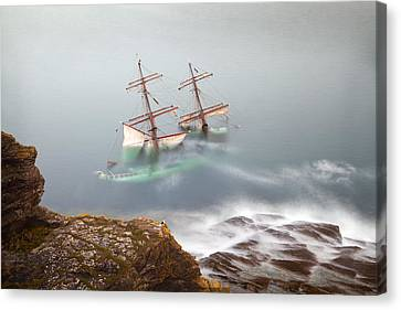Tall Ship Canvas Print - The Astrid Goes Aground by Alan Mahon