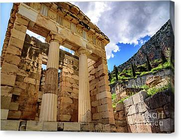 The Athenian Treasury At Delphi, Greece Canvas Print by Global Light Photography - Nicole Leffer