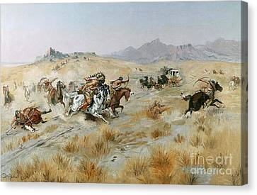 Traveller Canvas Print - The Attack by Charles Marion Russell