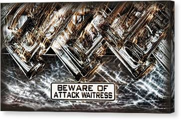 The Attack Waitress  Canvas Print by Joan  Minchak