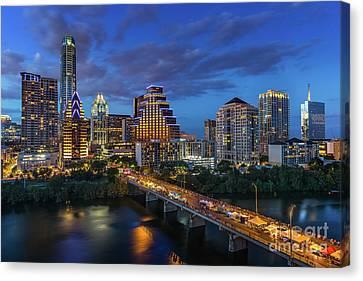 The Austin Skyline Shines Bright As Thousands Take To The Congress Avenue Bridge Canvas Print