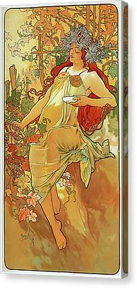 The Autumn Canvas Print by Alphonse Mucha