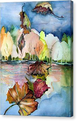 The Autumn Leaves Drift By My Window Canvas Print by Mindy Newman