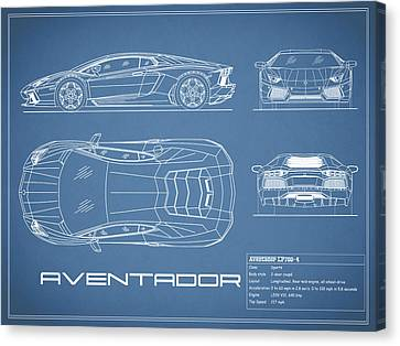 The Aventador Blueprint Canvas Print by Mark Rogan
