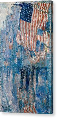 The Avenue In The Rain - 1917 Canvas Print by Frederick Childe Hassam