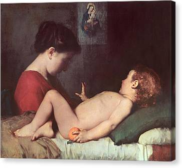 The Awakening Child Canvas Print by Jean Jacques Henner
