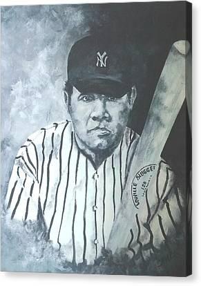 Iconic Baseball Players Canvas Print - The Babe by Christie Lea
