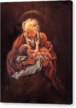 Canvas Print featuring the painting The Baby Jesus - A Study by Donna Tucker