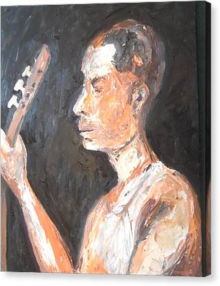 Canvas Print featuring the painting The Baglama Player by Esther Newman-Cohen