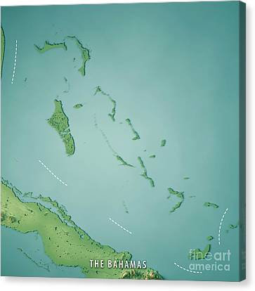 Canvas Print - The Bahamas 3d Render Topographic Map by Frank Ramspott