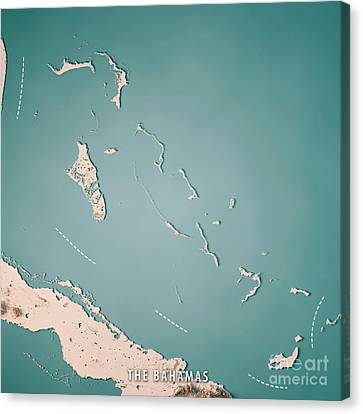 Canvas Print - The Bahamas 3d Render Topographic Map Neutral by Frank Ramspott