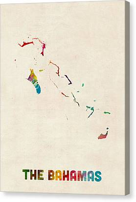 The Bahamas Watercolor Map Canvas Print by Michael Tompsett