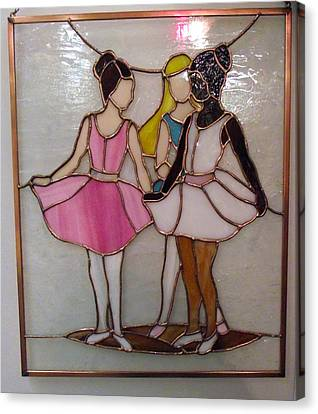 Carl Correll Canvas Print - The Ballet Dancers In Stained Glass by Arlene  Wright-Correll