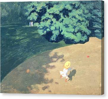 The Balloon Or Corner Of A Park With A Child Playing With A Balloon Canvas Print by Felix Edouard Vallotton