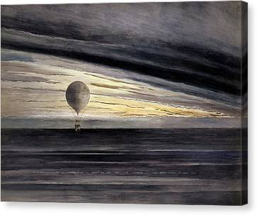 The Balloon, Zenith, During A Long Distance Flight From Paris To Bordeaux  Canvas Print by French School