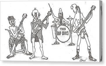 Canvas Print featuring the drawing The Band by R  Allen Swezey