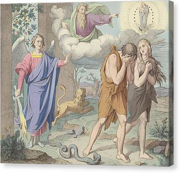 The Banishment From Paradise Canvas Print by German School