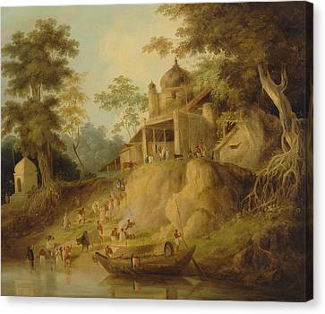 The Banks Of The Ganges Canvas Print by William Daniell
