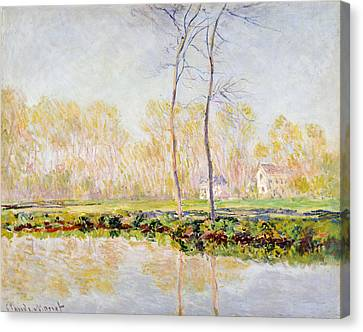 The Banks Of The River Epte At Giverny Canvas Print by Claude Monet