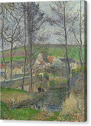 The Banks Of The Viosne At Osny In Grey Weather, Winter Canvas Print by Camille Pissarro