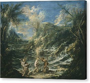 The Baptism Of Christ Canvas Print by Alessandro Magnasco