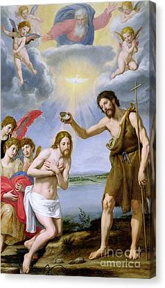 Baptising Canvas Print - The Baptism Of Christ by Ottavio Vannini