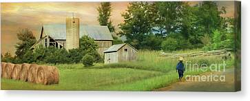 The Barefoot Farm Boy Canvas Print by Lori Deiter