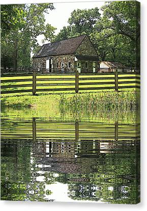 The Barn And The Pond Pennsbury Manor Canvas Print by Valerie Stein