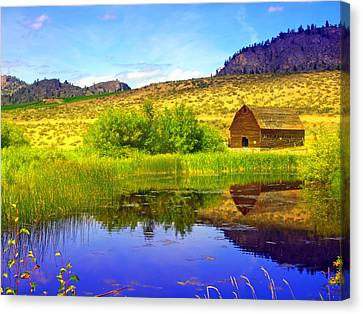 The Barn And The Pond Canvas Print by Tara Turner