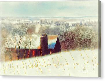 Old Barns Canvas Print - The Barn Over The Hill by Lois Bryan