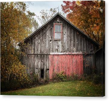 The Barn With The Red Door Canvas Print by Lisa Russo