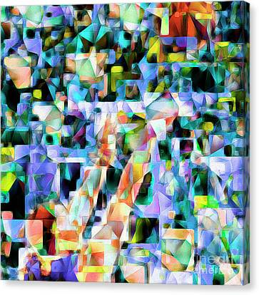 The Basketball Jump Shot In Abstract Cubism 20170328 Square Canvas Print