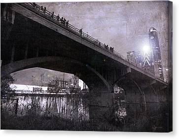 The Bat Bridge Night Austin Texas Canvas Print by Betsy Knapp