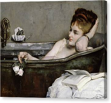 Woman Nude Canvas Print - The Bath by Alfred George Stevens