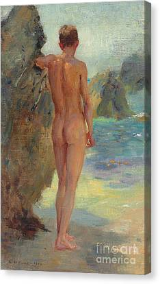 Tanning Canvas Print - The Bather, 1912 by Henry Scott Tuke