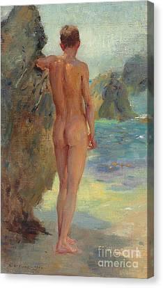The Bather, 1912 Canvas Print by Henry Scott Tuke
