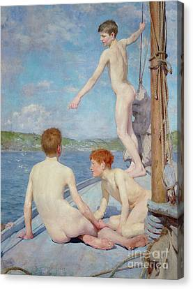 The Bathers, 1889 Canvas Print by Henry Scott Tuke