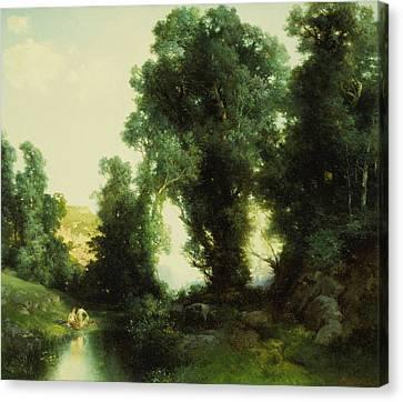 Moran Canvas Print - The Bathing Hole by Thomas Moran
