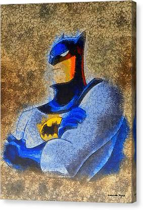 Hidden Face Canvas Print - The Batman - Pa by Leonardo Digenio