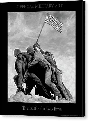 The Battle For Iwo Jima By Todd Krasovetz Canvas Print by Todd Krasovetz