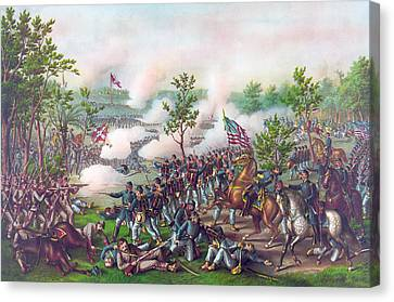 The Battle Of Atlanta, Canvas Print by American School