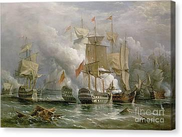 The Battle Of Cape St Vincent Canvas Print by Richard Bridges Beechey