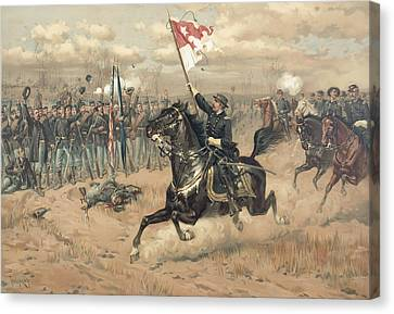 The Battle Of Cedar Creek Virginia Canvas Print by Thure de Thulstrup