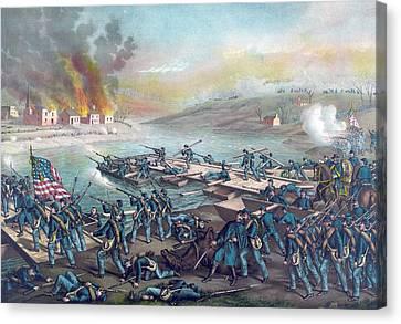 The Battle Of Fredericksburg Canvas Print by American School