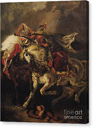 The Battle Of Giaour And Hassan Canvas Print by Ferdinand Victor Eugene Delacroix
