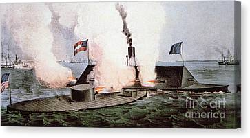 The Battle Of Hampton Roads Canvas Print