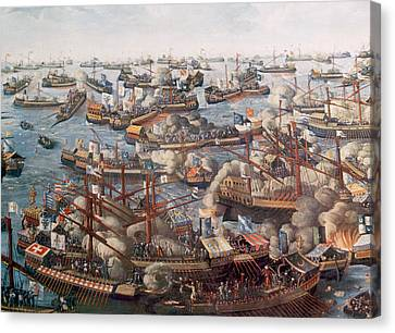 The Battle Of Lepanto, The Fleet Canvas Print by Everett